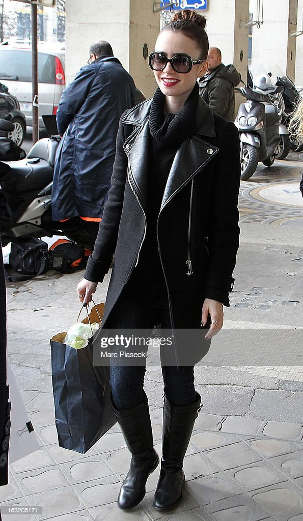 Lily Collins is sighted on the 'Rue de Rivoli' on March 6, 2013 in Paris, France.