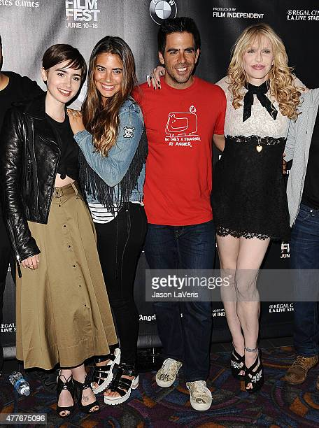 """Lily Collins, Lorenza Izzo, Eli Roth and Courtney Love attend the closing night live read of """"Fast Times At Ridgemont High"""" at the 2015 Los Angeles..."""