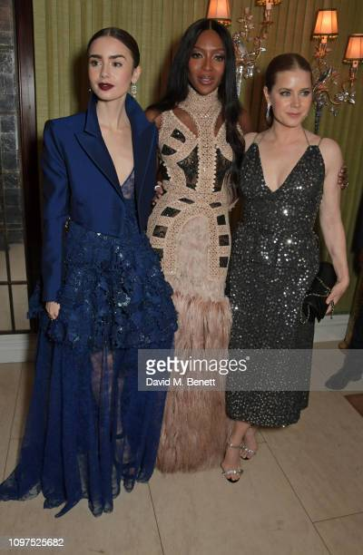 Lily Collins Naomi Campbell wearing Tiffany Co and Amy Adams attend the British Vogue and Tiffany Co Celebrate Fashion and Film Party at Annabel's on...