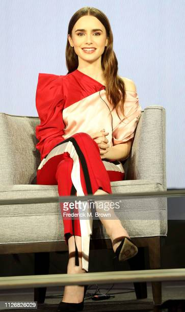 Lily Collins of the television show Les Miserables speaks during the PBS segment of the 2019 Winter Television Critics Association Press Tour at The...