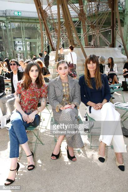 Lily Collins Rowan Blanchard and Caroline de Maigret attend the Chanel Haute Couture Fall/Winter 20172018 show as part of Haute Couture Paris Fashion...