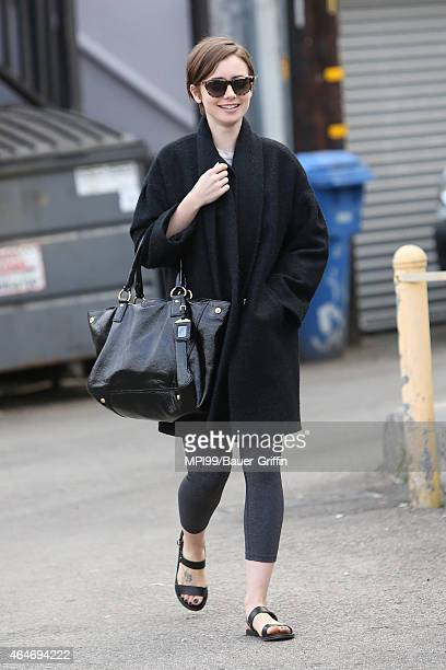 Lily Collins seen running errands on February 27 2015 in Los Angeles California