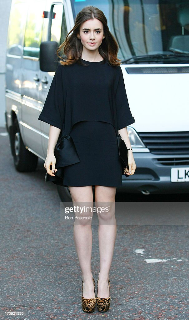 Lily Collins sighted at ITV Studios on August 19, 2013 in London, England.