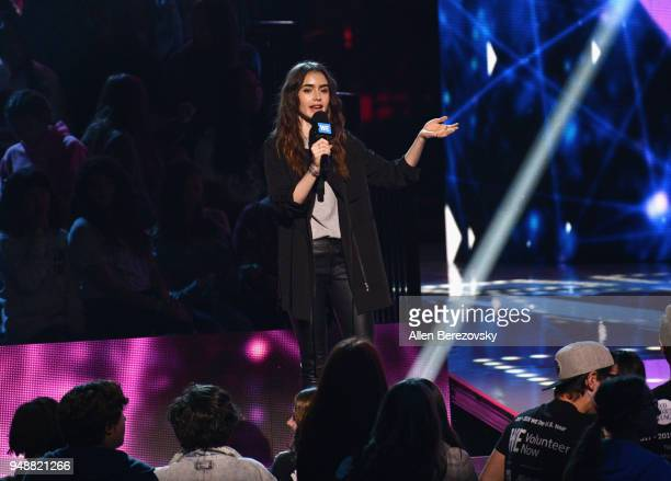 Lily Collins speaks onstage at WE Day California at The Forum on April 19 2018 in Inglewood California