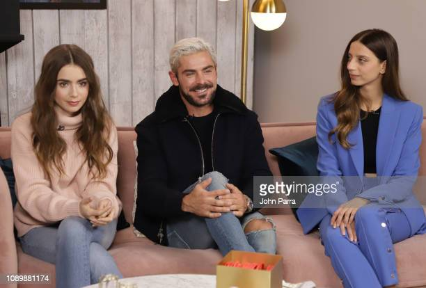 Lily Collins Zac Efron and Angela Sarafyan from Extremely Wicked Shockingly Evil and Vile are interviewed at The Hollywood Reporter 2019 Sundance...