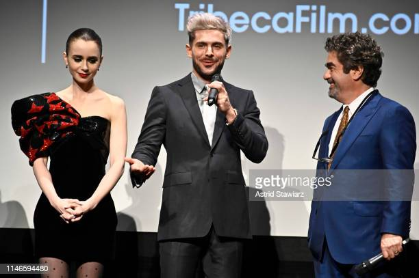 """Lily Collins, Zac Efron, and Director Joe Berlinger participate in the Q&A for Netflix's """"Extremely Wicked, Shockingly Evil and Vile"""" Tribeca Film..."""