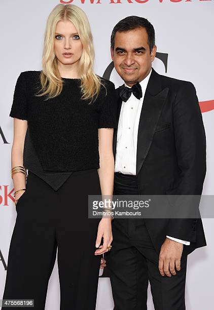 Lily Donaldson and designer Bibhu Mohapatra attend the 2015 CFDA Fashion Awards at Alice Tully Hall at Lincoln Center on June 1 2015 in New York City