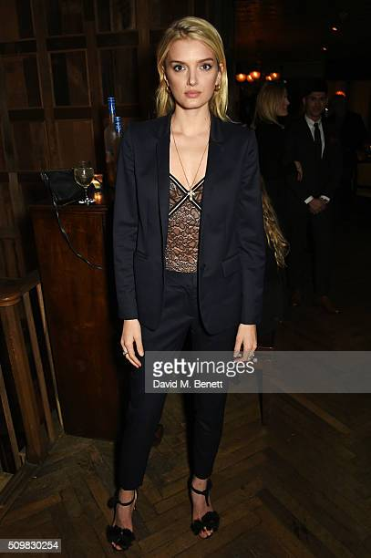 Lily Donaldson attends Harvey Weinstein's preBAFTA dinner in partnership with Burberry and GREY GOOSE at Little House Mayfair on February 12 2016 in...