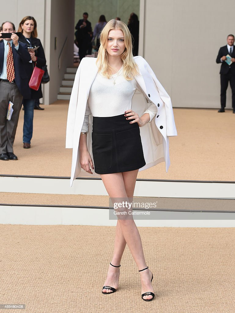 Lily Donaldson attends the Burberry Womenswear SS15 show during London Fashion Week at Kensington Gardens on September 15, 2014 in London, England.