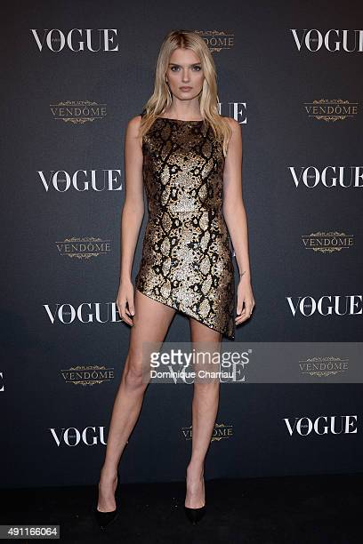 Lily Donaldson attends the Vogue 95th Anniversary Party Photocall as part of the Paris Fashion Week Womenswear Spring/Summer 2016 on October 3 2015...