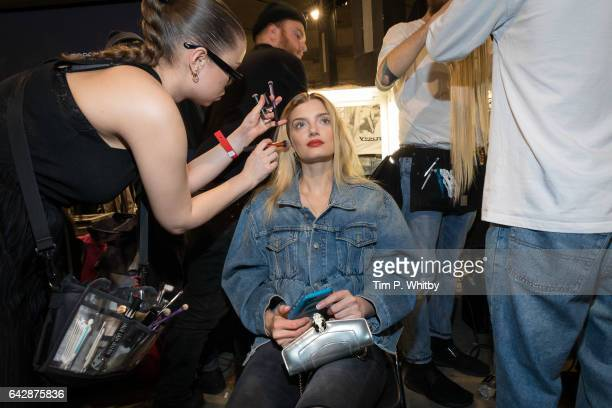 Lily Donaldson backstage ahead of the Topshop Unique show during the London Fashion Week February 2017 collections at Tate Modern on February 19 2017...
