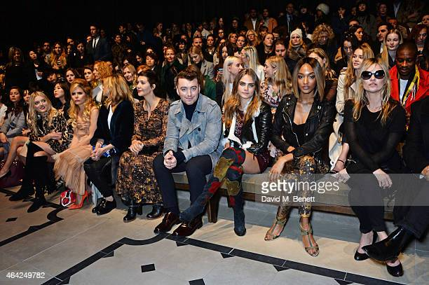 Lily Donaldson, Paloma Faith, Clemence Posey, Maggie Gyllenhaal, Sam Smith, Cara Delevingne, Jourdan Dunn, Kate Moss attend the Burberry Prorsum AW...