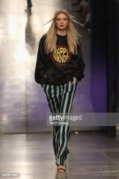 Lily Donaldson walks the runway at the Topshop Unique show during the London Fashion Week February 2017 collections on February 19 2017 in London...