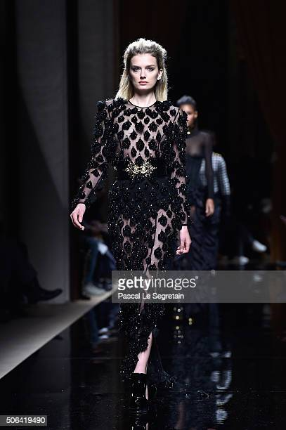Lily Donaldson walks the runway during the Balmain Menswear Fall/Winter 20162017 show as part of Paris Fashion Week on January 23 2016 in Paris France