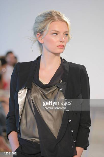Lily Donaldson wearing Roland Mouret Spring 2005 during Olympus Fashion Week Spring 2005 Roland Mouret Runway at West 49th Street in New York City...