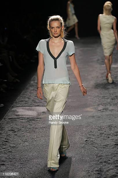 Lily Donaldson wearing Zac Posen Spring 2005 during Olympus Fashion Week Spring 2005 Zac Posen Runway at Theater Tent Bryant Park in New York City...