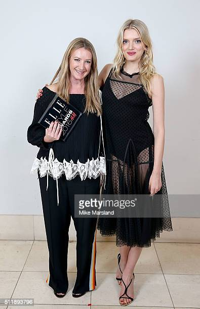 Lily Donaldson with Anya Hindmarch winner of the Accessories Designer of the Year award poses in the winners room at The Elle Style Awards 2016 on...
