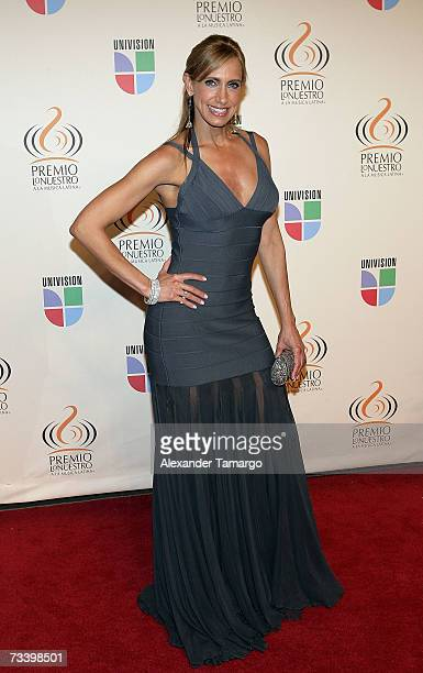 Lily Estefan poses on the red carpet before Univision's Premio lo Nuestro Awards show on February 22 2007 in Miami Florida