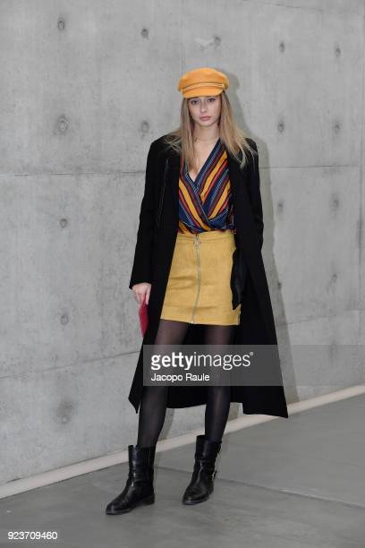 Lily Flynn arrives at the Giorgio Armani show during Milan Fashion Week Fall/Winter 2018/19 on February 24 2018 in Milan Italy