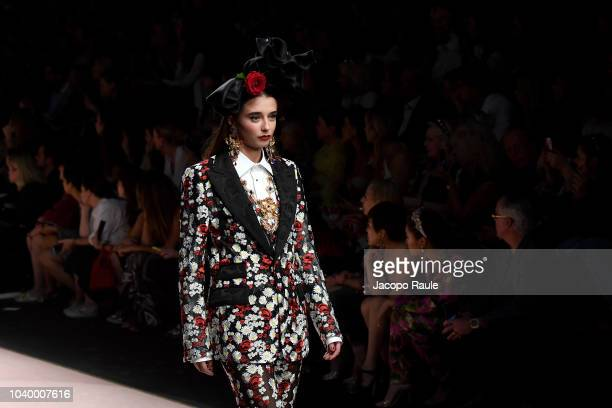 Lily Flynn walks the runway at the Dolce Gabbana show during Milan Fashion Week Spring/Summer 2019 on September 23 2018 in Milan Italy