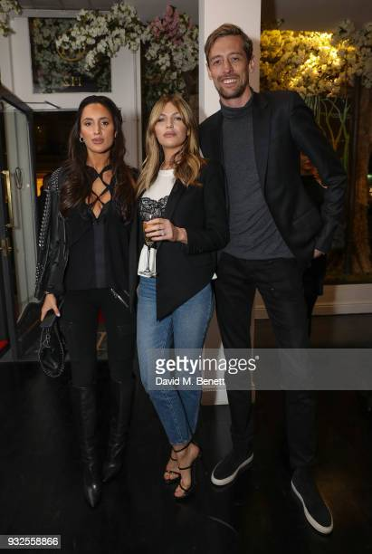 Lily Fortescue Abbey Clancy and Peter Crouch attend a private view of artist Dan Baldwin's exhibition 'A New Optimism' at Maddox Gallery on March 15...