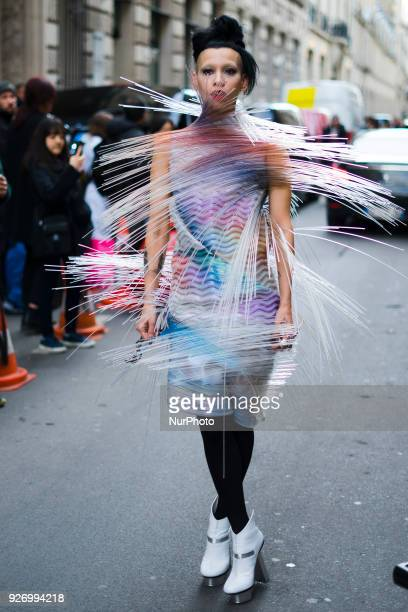 Lily Gatins attends the Comme Des Garçons show as part of the Paris Fashion Week Womenswear Fall/Winter 2018/2019 on March 3 2018 in Paris France