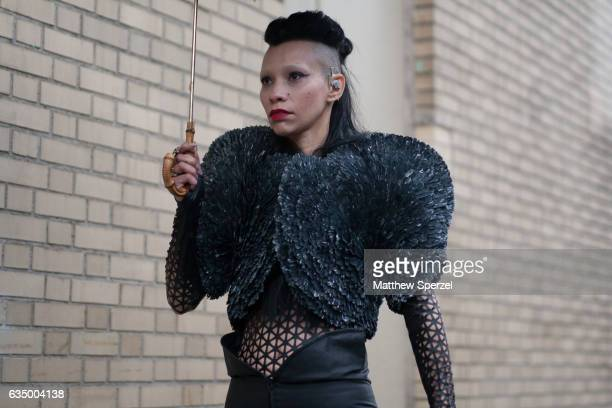 Lily Gatins is seen attending Gypsy Sport during New York Fashion Week wearing an all black avant garde outfit on February 12 2017 in New York City