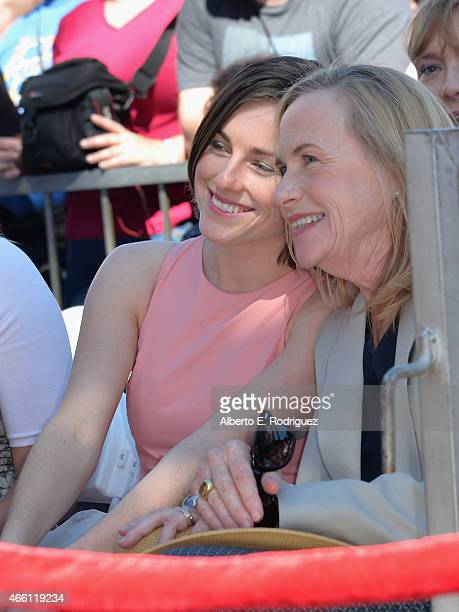 Lily Harris and actress Amy Madigan attend a ceremony honoring Ed Harris with the 2546th Star on the Hollywood Walk Of Fame on March 13 2015 in...