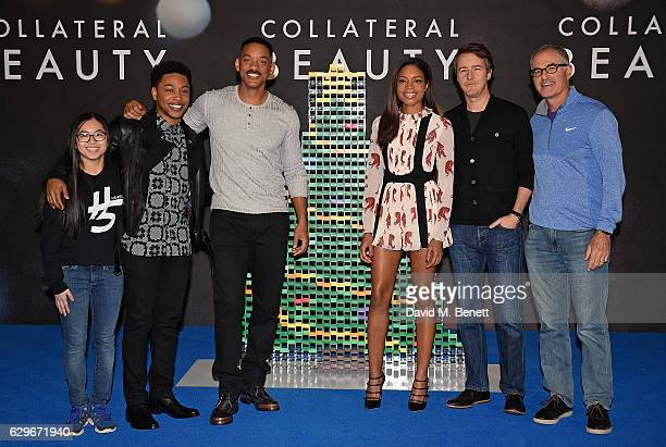 Lily Hevesh Jacob Latimore Will Smith Naomie Harris Edward Norton and David Frankel attend a photocall for Collateral Beauty at the Corinthia Hotel...