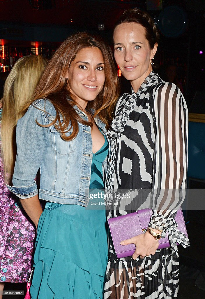 Lily Hodges (L) and Julie Brangstrup attend Jo Wood and Yasmin Mill's Summer Party at Boujis on July 9, 2014 in London, England.