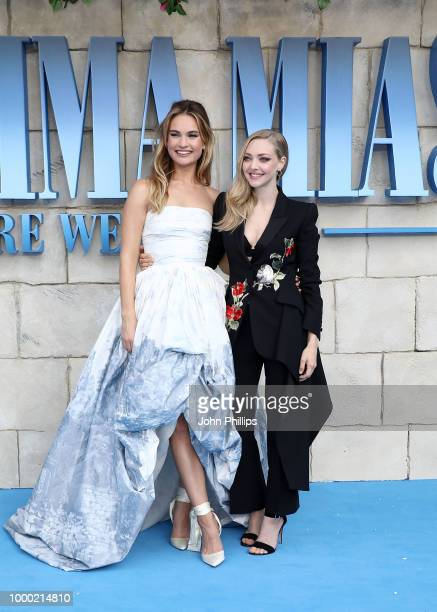Lily James and Amanda Seyfried attend the UK Premiere of Mamma Mia Here We Go Again at Eventim Apollo on July 16 2018 in London England