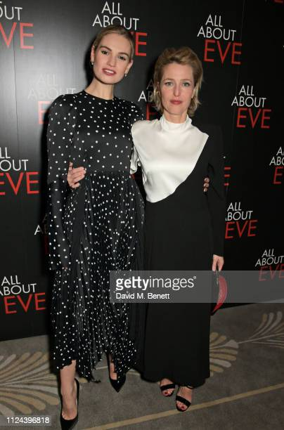 Lily James and Gillian Anderson attend the press night after party for 'All About Eve' at The Waldorf Hilton on February 12 2019 in London England