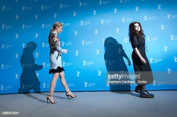 Lily James and Helena Bonham Carter attend the 'Cinderella' photocall during the 65th Berlinale International Film Festival at Grand Hyatt Hotel on...