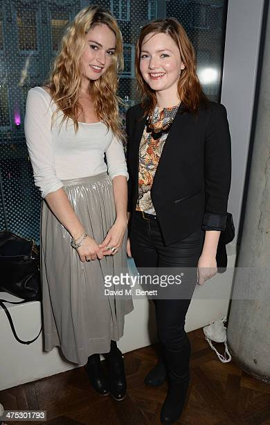 Lily James and Holliday Grainger attend a VIP screening of Harvey Weinstein's Escape From Planet Earth at The W Hotel on February 27 2014 in London...