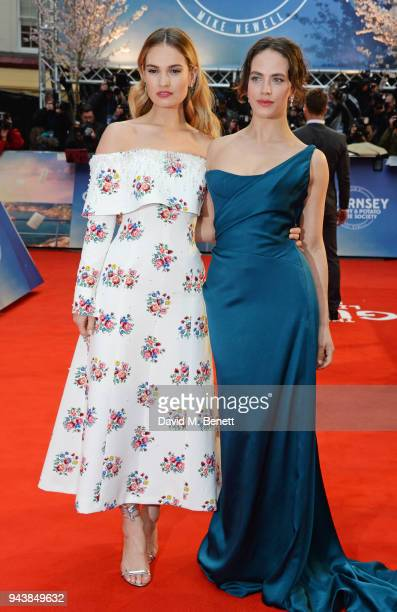 "Lily James and Jessica Brown Findlay attend the World Premiere of ""The Guernsey Literary And Potato Peel Pie Society"" at The Curzon Mayfair on April..."
