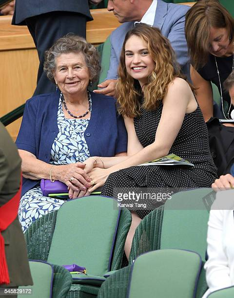 Lily James and Marinette Mantle attend the Men's Final of the Wimbledon Tennis Championships between Milos Raonic and Andy Murray at Wimbledon on...