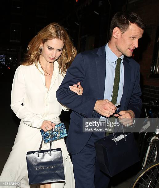 Lily James and Matt Smith at the Chiltern Firehouse on June 22 2015 in London England