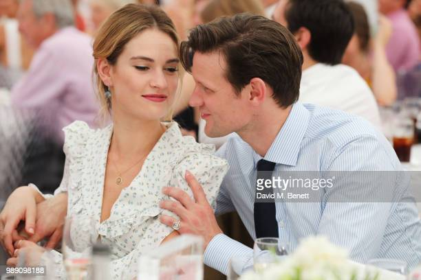 Lily James and Matt Smith attend the Audi Polo Challenge at Coworth Park Polo Club on July 1 2018 in Ascot England