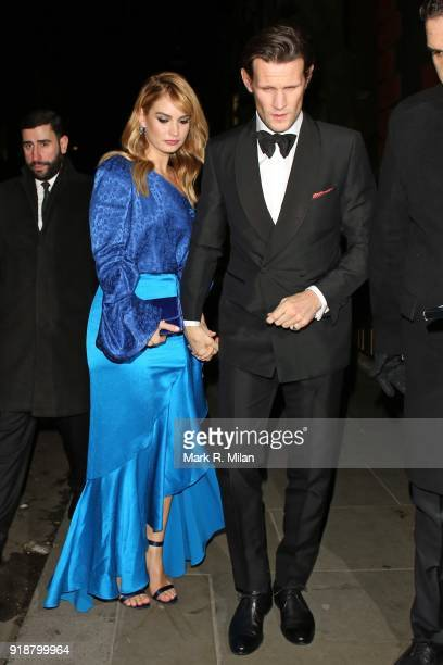 Lily James and Matt Smith attending the Dunhill and Dylan Jones PreBAFTA Filmmakers Dinner on February 15 2018 in London England