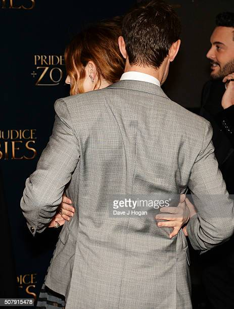Lily James and Matt Smith hug during the red carpet for the European premiere for 'Pride And Prejudice And Zombies' on at Vue West End on February 1...
