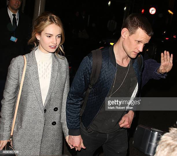 Lily James and Matt Smith leaving the Dover Street Arts Club on April 9 2015 in London England