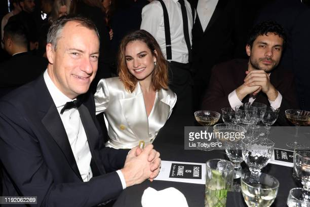 Lily James and Max Ianeselli during the VIP dinner at The Fashion Awards 2019 held at Royal Albert Hall on December 02 2019 in London England