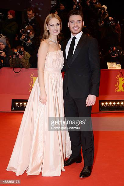 Lily James and Richard Madden attend the 'Cinderella' premiere during the 65th Berlinale International Film Festival at Berlinale Palace on February...