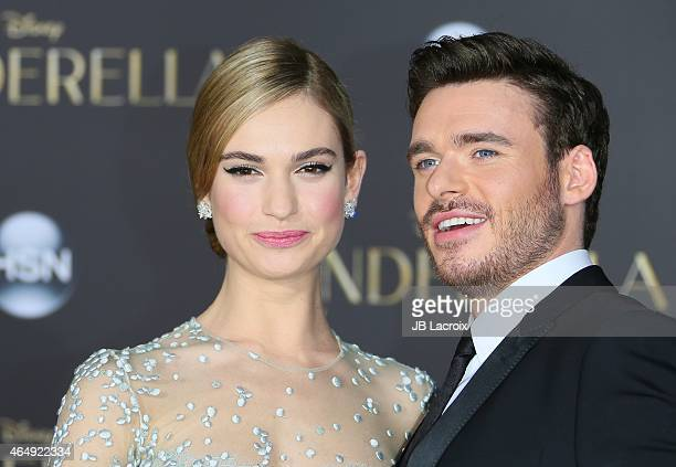 Lily James and Richard Madden attend the premiere of Disney's 'Cinderella' at the El Capitan Theatre on March 1, 2015 in Hollywood, California.
