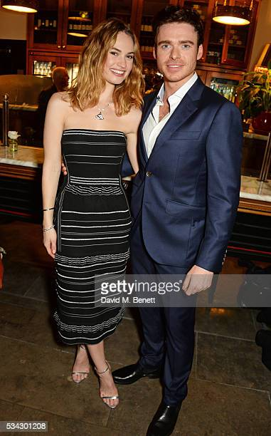 Lily James and Richard Madden attend the press night after party for The Kenneth Branagh Theatre Company's 'Romeo And Juliet' at The The National...