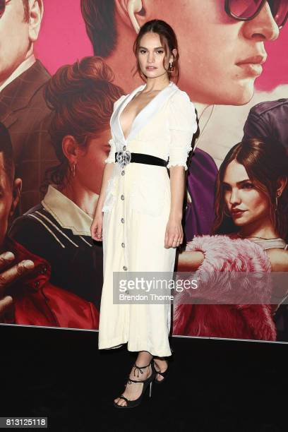 Lily James arrives ahead of the Baby Driver Australian Premiere at Event Cinemas George Street on July 12 2017 in Sydney Australia