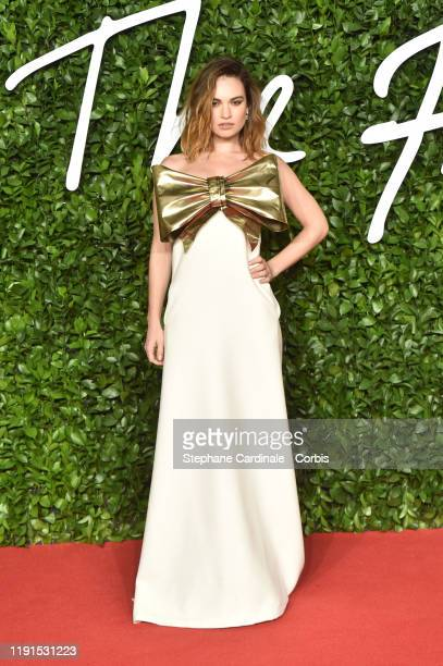 Lily James arrives at The Fashion Awards 2019 held at Royal Albert Hall on December 02 2019 in London England