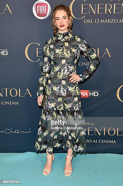 """Lily James attends """"Cinderella"""" Screening held at Cinema Odeon on February 18, 2015 in Milan, Italy."""