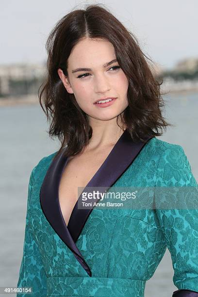Lily James attends Harvey Weinstein photocall on La Croisette on October 5 2015 in Cannes France