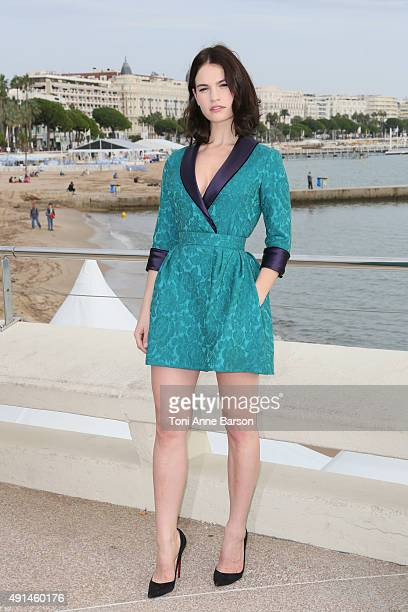 "Lily James attends ""Harvey Weinstein"" photocall on La Croisette on October 5, 2015 in Cannes, France."